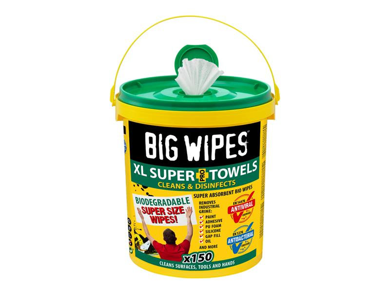 XL Super Towels Cleaning Wipes (Tub 150)