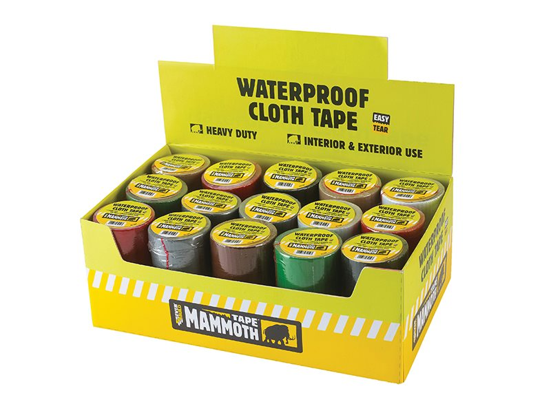 Cloth Tape 50mm x 4.5m Display of 30 (9 Assorted Colours)