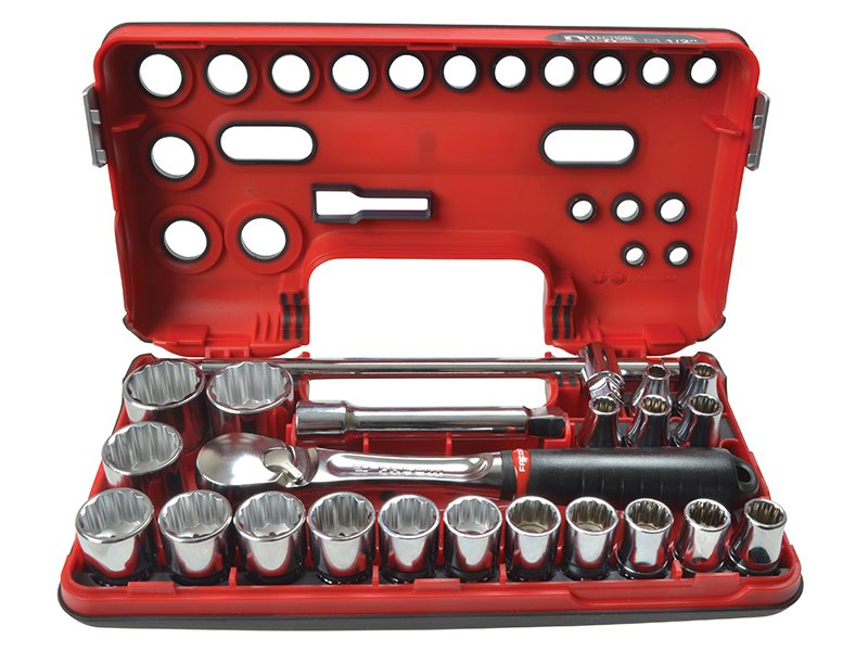12Pt Detection Box Socket Set 22 Piece Metric 1/2in Drive