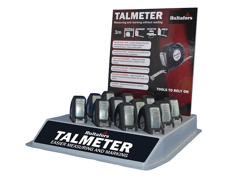 Talmeter Tapes 3m (Width 16mm) Display Tray (12 Pieces)