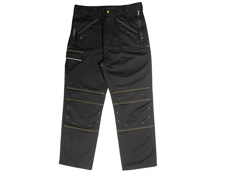 Black Multi Zip Work Trousers