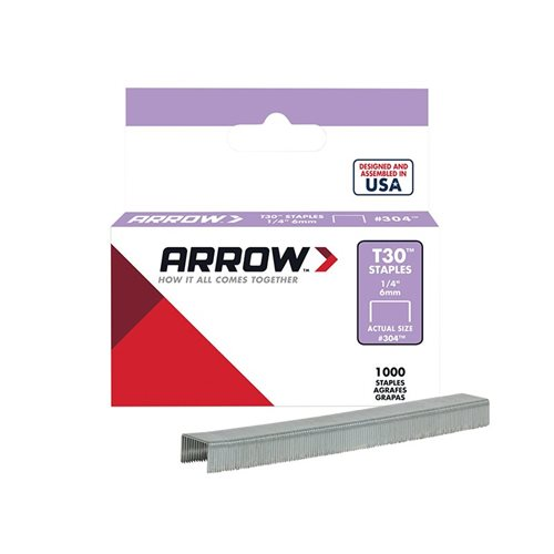 Arrow T30 Staples 6mm (1/4in) Box 1000