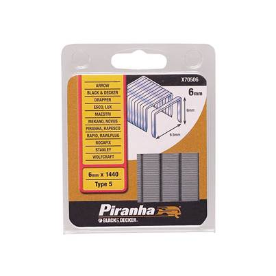 Black & Decker X70506 Narrow Crown Staples 6mm Pack 1440