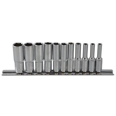 BlueSpot Tools Deep Socket Set of 11 Metric 1/4in Square Drive
