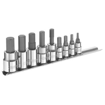 Expert Hex Bit Socket Set of 9 1/4 & 3/8in Drive