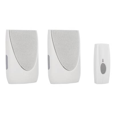 Byron BY212 Wireless Doorbell Kit with Portable & Plug In Chimes 100m