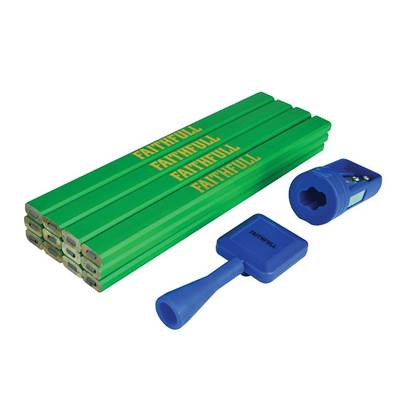 Faithfull Carpenter's Pencil Kit Green / Hard (Pack 12)