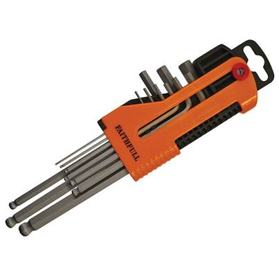 Faithfull Long Arm Ball End Hex Key Set of 9 Metric