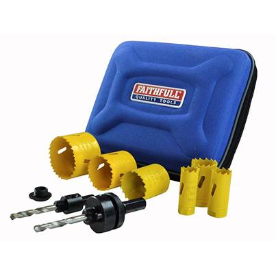 Faithfull Universal Varipitch Holesaw Plumber's Kit 9 Piece 19-57mm
