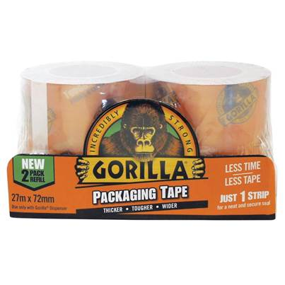 Gorilla Glue Gorilla Packaging Tape 72mm x 27m Refill Pack of 2