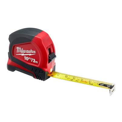 Milwaukee Hand Tools LED Tape Measure 3m/10ft (Width 12mm)