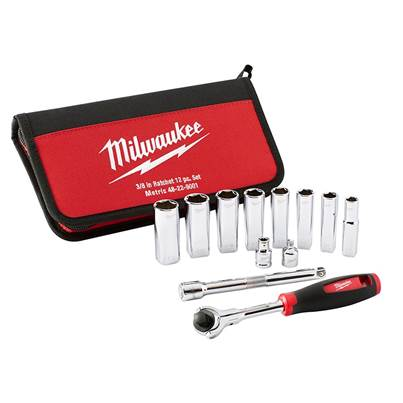Milwaukee Hand Tools Tradesman 3/8in Ratchet Set 12 Piece