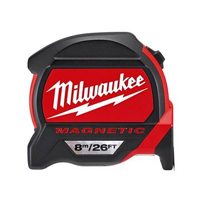 Milwaukee Premium Magnetic Tape Measure 8m/26ft (Width 27mm) Bulk Pack