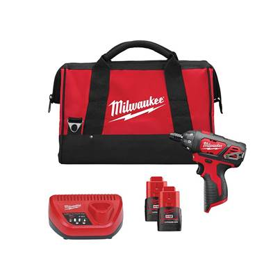 Milwaukee Power Tools M12 SET1D Drill Driver Kit 12V 2 x 1.5Ah Li-Ion