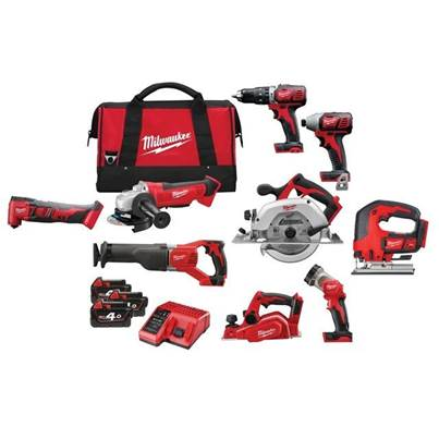 Milwaukee M18 9 Piece Power Pack 18V 3 x 4.0Ah Li-ion