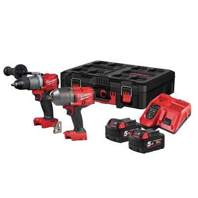Milwaukee Power Tools M18 FPP2I2-502P FUEL™ Powerpack Twin Pack 18V 2 x 5.0Ah Li-ion