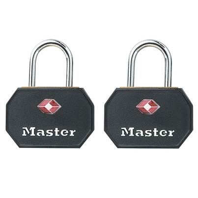 Master Lock Aluminium 30mm Padlocks Black ABS Cover -Keyed Alike x 2