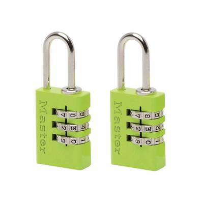 Master Lock Aluminium Combination Padlocks 3 Digit Colour 20mm x 2