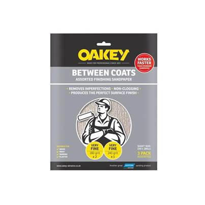 Oakey Between Coats Silicon Carbide Sanding Sheets 230 x 280mm Super Fine 320g (3)