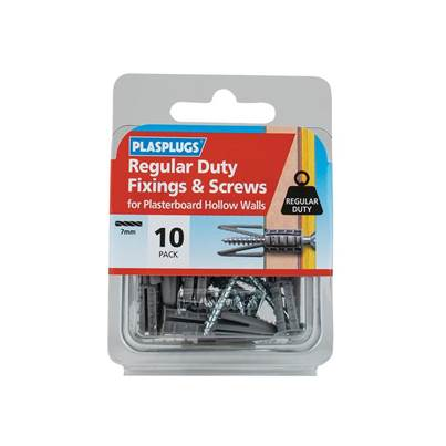 Plasplugs Regular-Duty Fixings & Screws (Pack 10)