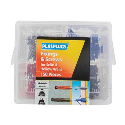 Plasplugs Fixings & Screws Kit for Solid & Hollow Walls, 150 Piece