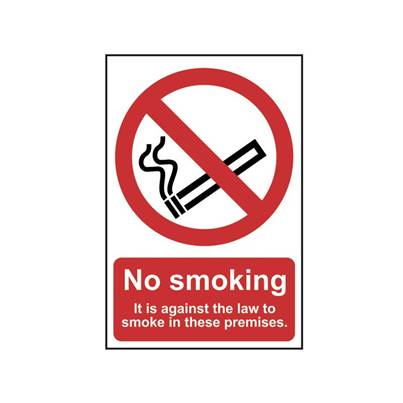 Scan No Smoking It Is Against The Law To Smoke In These Premises - PVC 200 x 300mm