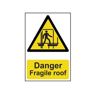 Scan Danger Fragile Roof - PVC 200 x 300mm
