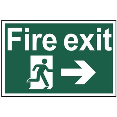 Scan Fire Exit Running Man Arrow Right - PVC 300 x 200mm