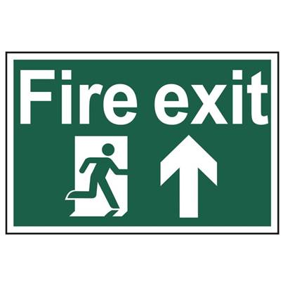 Scan Fire Exit Running Man Arrow Up - PVC 300 x 200mm