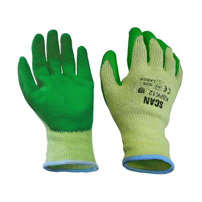 Scan Knitshell Latex Palm Gloves (Green) - L (Size 9)