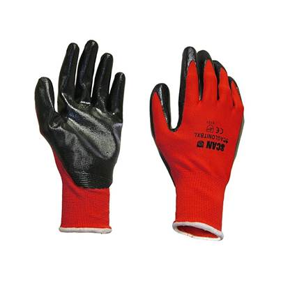 Scan Palm Dipped Black Nitrile Gloves