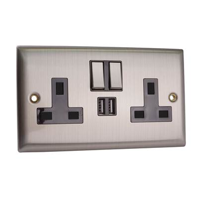 SMJ Switched Wall Socket with USB Ports