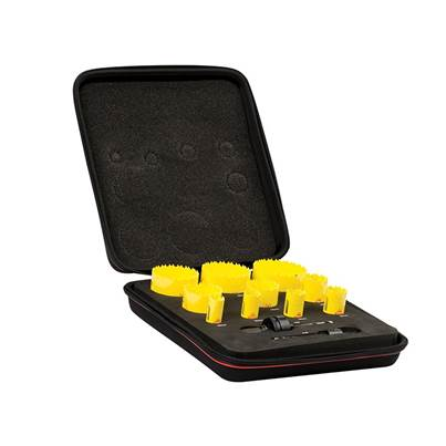 Starrett KDC10021 Deep Cut Bi-Metal Deluxe Electrician's Holesaw Kit, 12 Piece