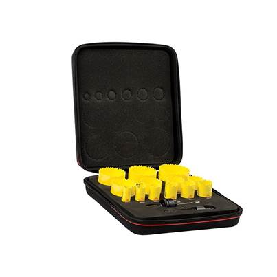 Starrett KDC13021 Deep Cut Bi-Metal Universal Holesaw Kit, 15 Piece