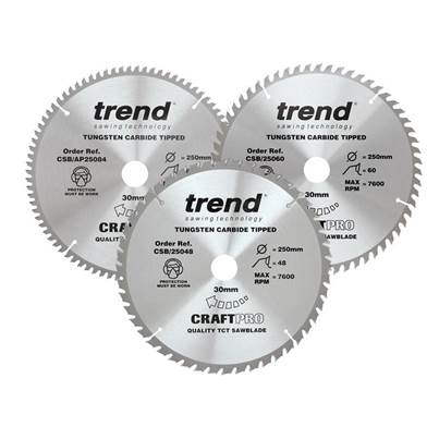 Trend CraftPro Table Saw Blade 250 x 30mm x 48T/60T/84T (Pack 3)