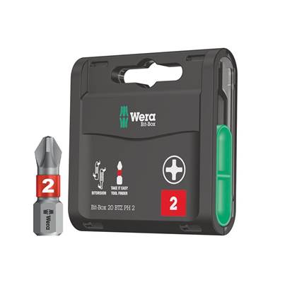 Wera Bit-Box 20 BiTorsion Bits PH2 x 25mm 20 Piece