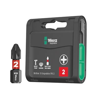 Wera Bit-Box 15 Impaktor PH2 x 25mm 15 Piece